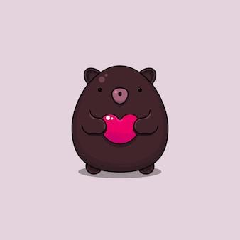 Personnage animal mignon saint-valentin tenant un symbole en forme de coeur