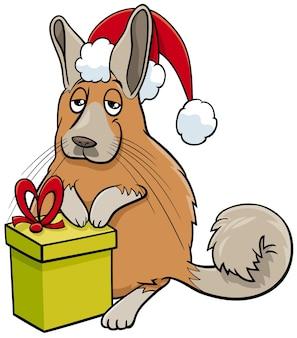 Personnage animal de viscache de dessin animé avec un cadeau à l'heure de noël
