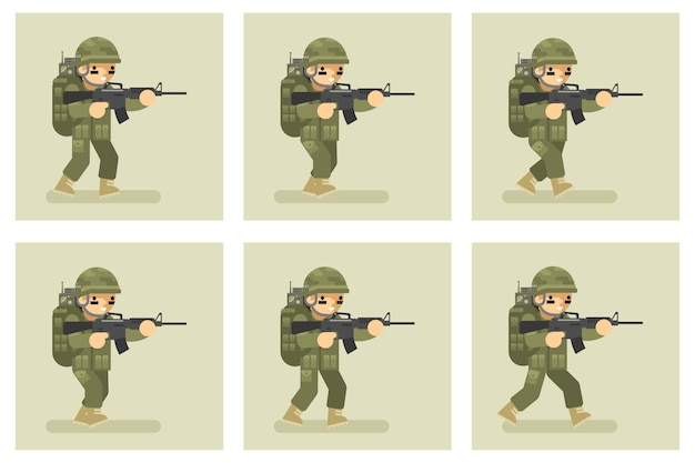 Personnage d'animation d'exécution de conception plate de soldat. armée militaire, action de l'homme en uniforme
