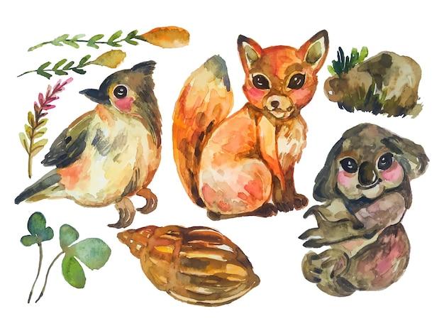 Personnage aquarelle animal mignon