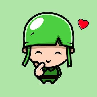 Personnage de l'armée avec des dessins d'amour kawaii