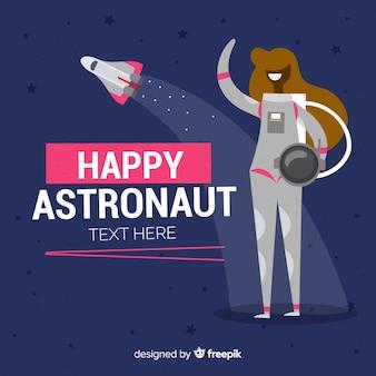 Personnage astronaute féminin avec un design plat