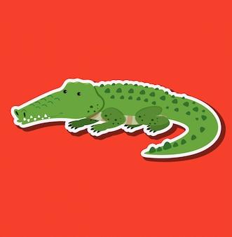 Personnage autocollant crocodile