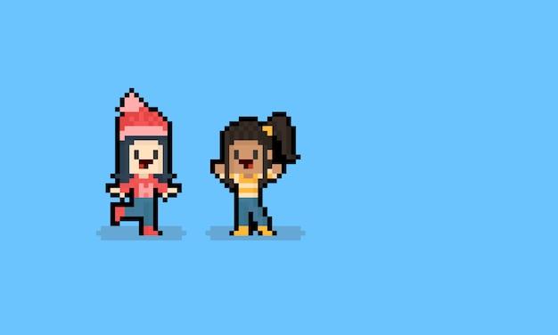 Personnage d'automne fille pixel art dessin animé. 8 bits.