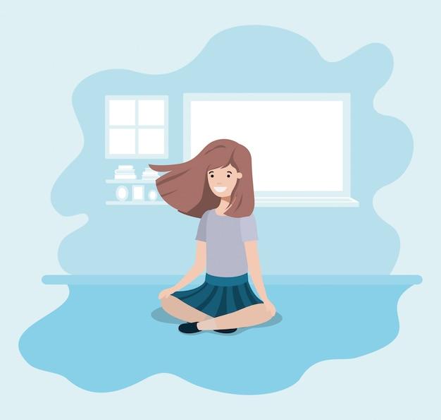 Personnage d'avatar assis fille adolescente