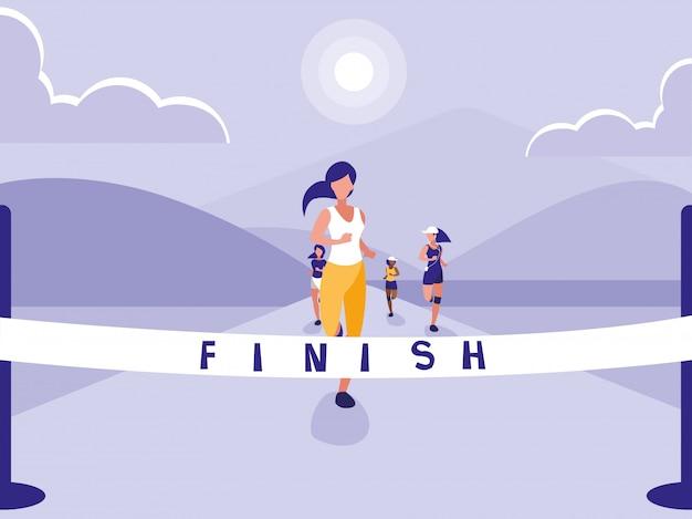Personnage avatar de course d'athlétisme féminin