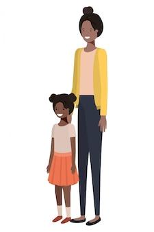 Personnage avatar debout mère et fille