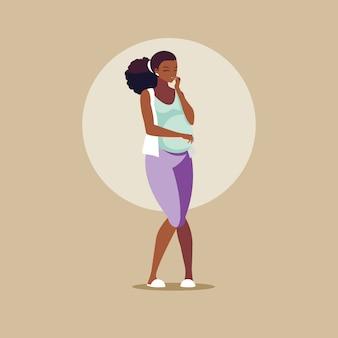 Personnage d'avatar femme afro enceinte