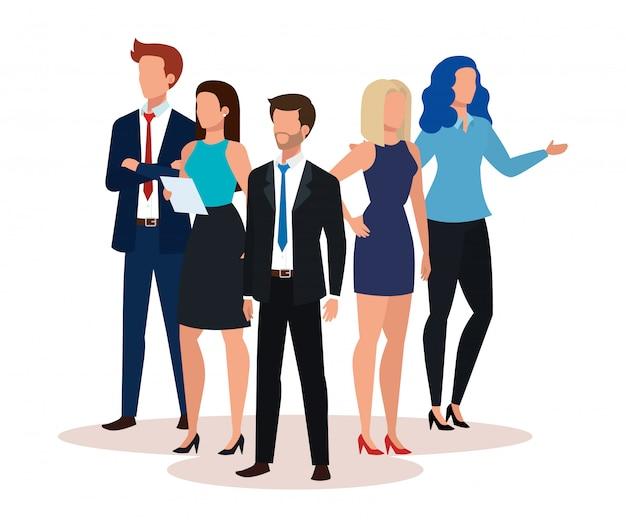 Personnage avatar de groupe de gens d'affaires