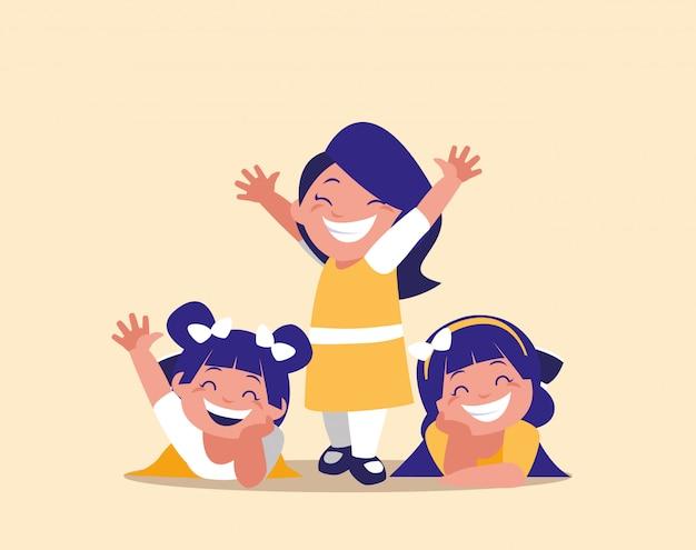 Personnage avatar heureux de petites filles