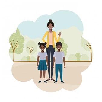 Personnage avatar maman avec enfants