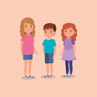 Personnage avatar mignon de petits enfants