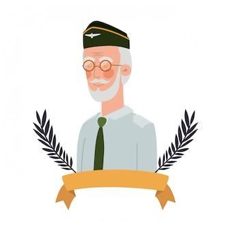 Personnage avatar vieil homme de guerre vétéran