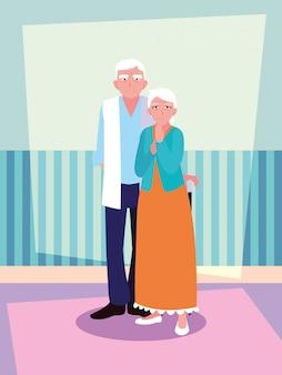 Personnage avatar vieux couple mignon