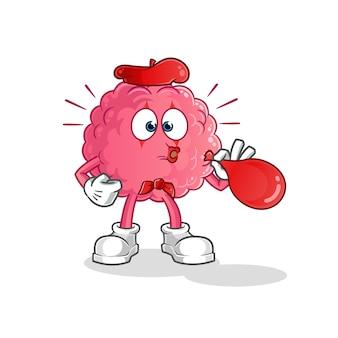 Personnage de ballons soufflant de pantomime de cerveau. mascotte de dessin animé