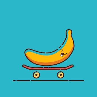 Personnage de banane kawaii jouant à la planche à roulettes