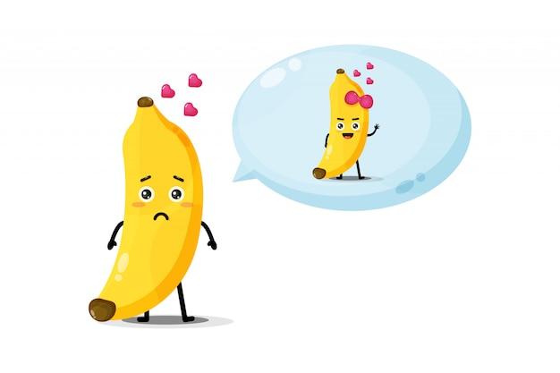 Un personnage de banane mignon pense à son amant