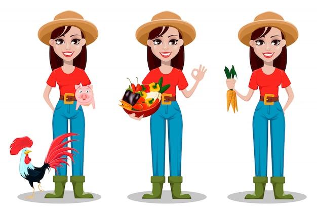 Personnage de bande dessinée agricultrice