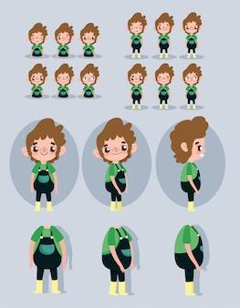 Personnage de bande dessinée animation petit garçon certaines parties du corps