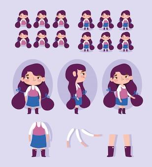 Personnage de bande dessinée animation petite fille des parties du corps