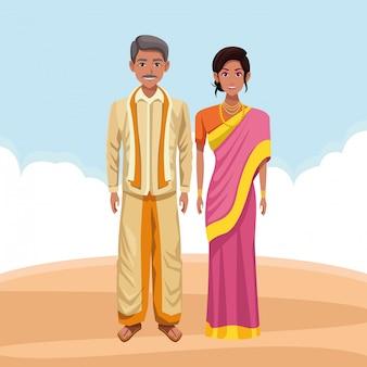 Personnage de bande dessinée avatar couple indien
