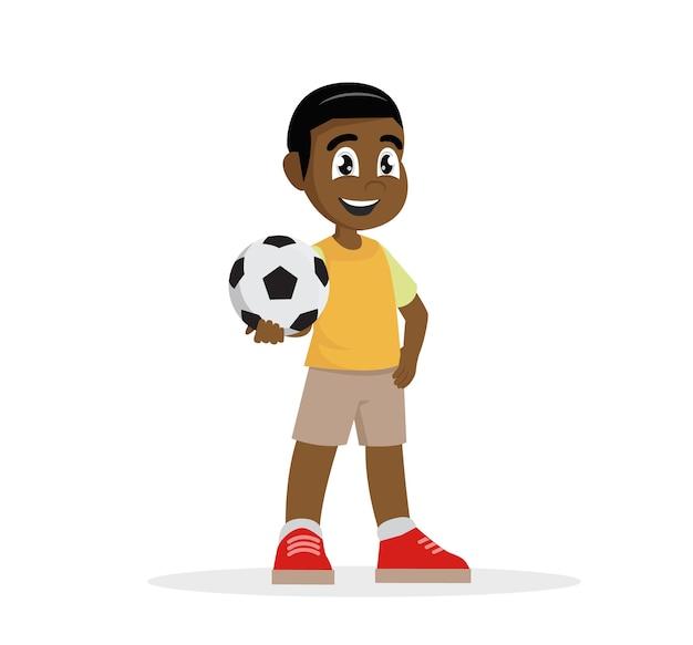 Personnage de bande dessinée, garçon africain tient le ballon dans sa main., vecteur eps10