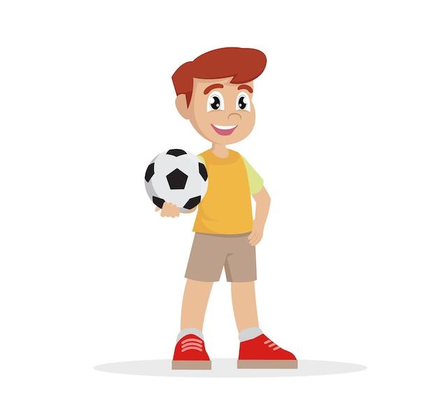 Personnage de bande dessinée, garçon tient le ballon dans sa main., vecteur eps10