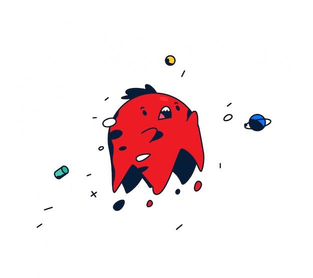 Personnage de bande dessinée incroyable. tête rouge en lévitation dans l'espace.