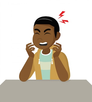 Personnage de bande dessinée poses, homme africain souffrant de maux de tête, maladie de la tête, tête tenant la migraine, problèmes de santé, douleur à la tête, stress, travail fatigué, souffrance, émotion, maux de tête, frustré.