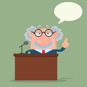 Personnage de bande dessinée professeur ou scientifique parlant derrière un podium avec bulle de dialogue