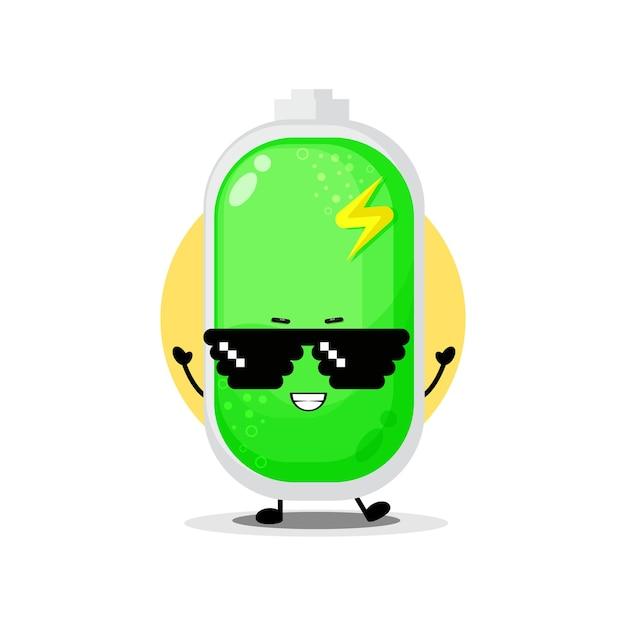Personnage de batterie mignon portant des lunettes de pixel