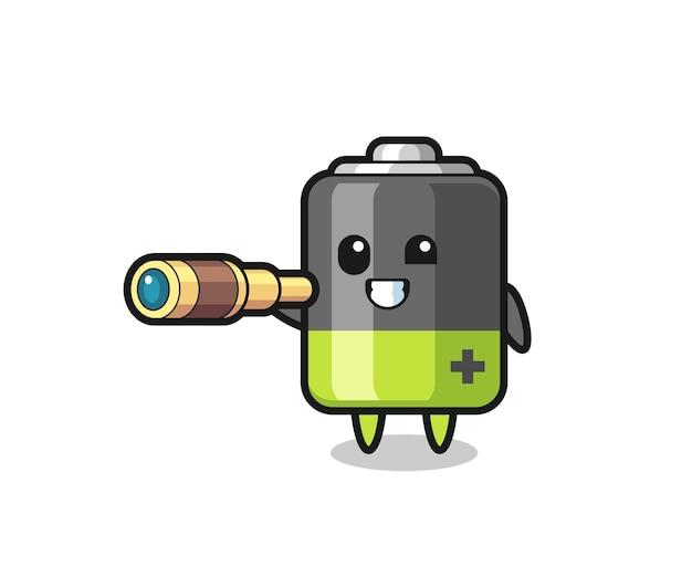 Le personnage de batterie mignon tient un vieux télescope, un design de style mignon pour un t-shirt, un autocollant, un élément de logo