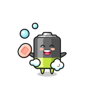 Le personnage de la batterie se baigne tout en tenant du savon, un design de style mignon pour un t-shirt, un autocollant, un élément de logo