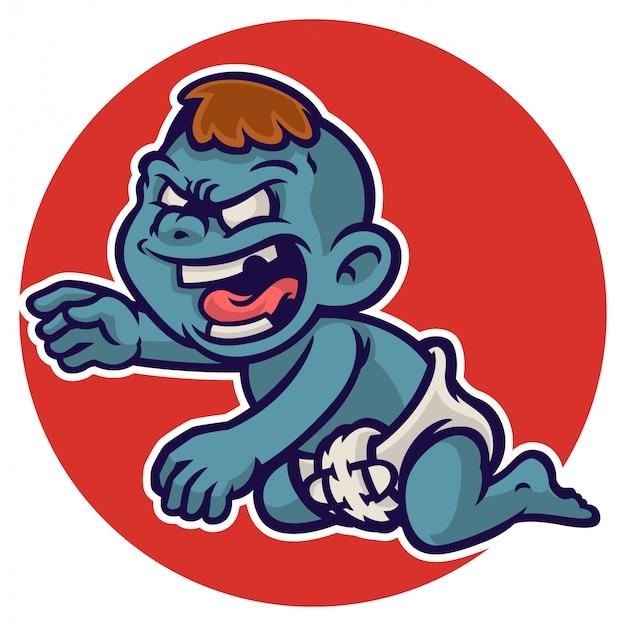 Personnage de bébé zombie d'halloween portant une couche