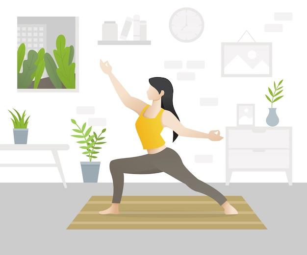 Personnage de belle jeune femme faisant du yoga