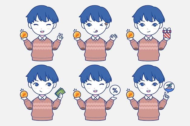 Personnage bleu japonais dessiné à la main collectant des points