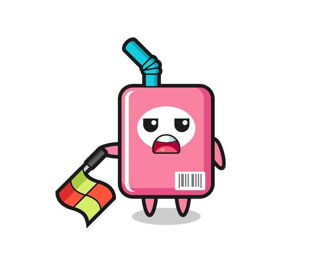 Le personnage de la boîte à lait en tant que juge de ligne maintient le drapeau à un angle de 45 degrés, design de style mignon pour t-shirt, autocollant, élément de logo