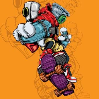 Personnage de bombe aérosol avec planche à roulettes