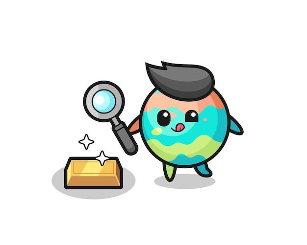 Le personnage des bombes de bain vérifie l'authenticité des lingots d'or, un design de style mignon pour un t-shirt, un autocollant, un élément de logo