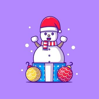 Personnage de bonhomme de neige illustration avec cadeau de noël. joyeux noël