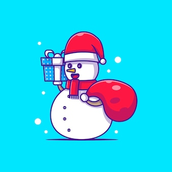 Personnage de bonhomme de neige illustration livraison cadeau de noël. joyeux noël