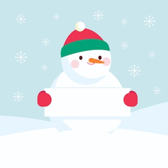 Personnage de bonhomme de neige tenant une bannière vide