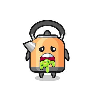 Le personnage de bouilloire mignon avec vomi, design de style mignon pour t-shirt, autocollant, élément de logo