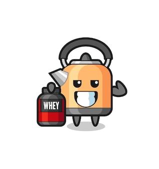 Le personnage de la bouilloire musculaire tient un supplément de protéines, un design de style mignon pour un t-shirt, un autocollant, un élément de logo