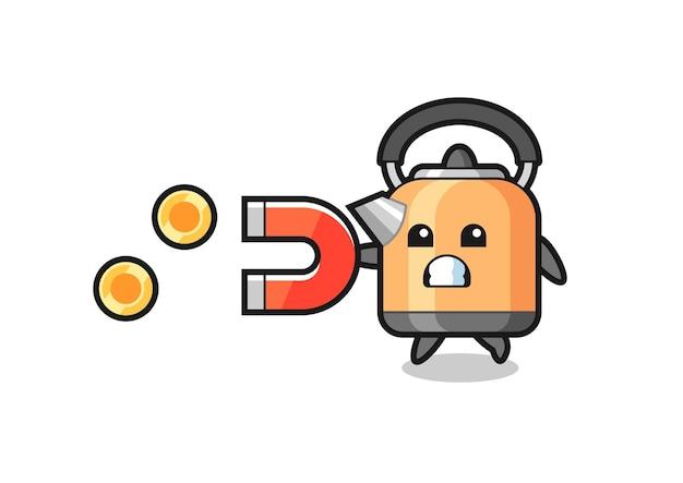 Le personnage de la bouilloire tient un aimant pour attraper les pièces d'or, design de style mignon pour t-shirt, autocollant, élément de logo