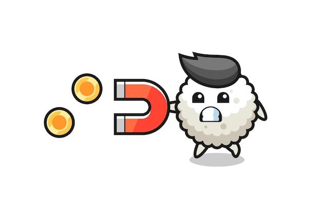 Le personnage de la boule de riz tient un aimant pour attraper les pièces d'or, design de style mignon pour t-shirt, autocollant, élément de logo