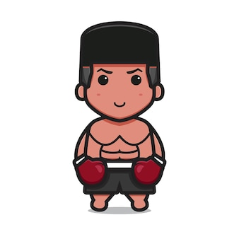 Personnage de boxe mignon porter des gants rouges icône de vecteur de dessin animé illustration icône de sport