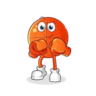 Personnage de boxeur de basket-ball. mascotte de dessin animé