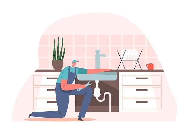 Personnage de bricoleur en uniforme fixant l'évier cassé dans la cuisine à domicile. mari pour un service de réparation d'une heure. plombier appelez maître plomberie travaux. réparateur ménage métier. illustration vectorielle de dessin animé