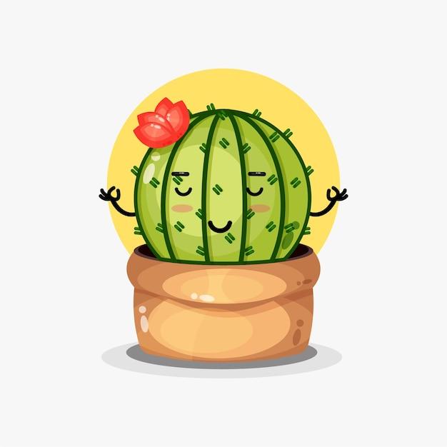 Personnage de cactus mignon méditant